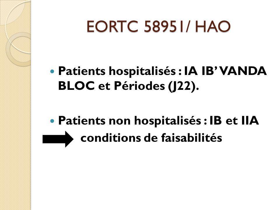 EORTC 58951/ HAO Patients hospitalisés : IA IB' VANDA BLOC et Périodes (J22). Patients non hospitalisés : IB et IIA.