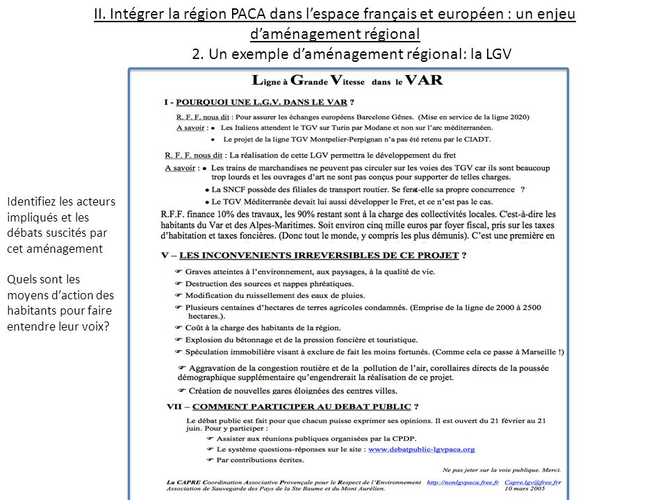 2. Un exemple d'aménagement régional: la LGV