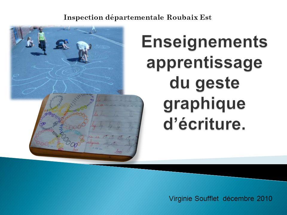 Enseignements apprentissage du geste graphique d'écriture.
