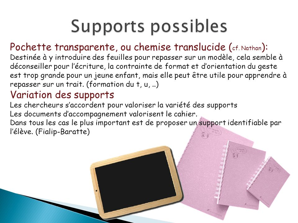 Supports possibles Pochette transparente, ou chemise translucide (cf. Nathan):