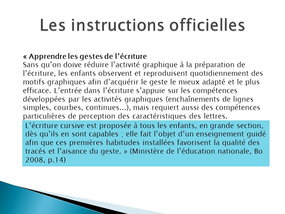 Les instructions officielles