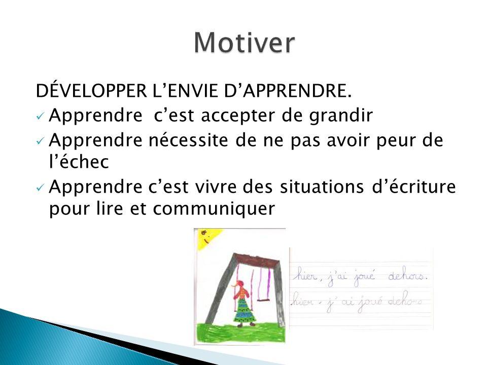 Motiver DÉVELOPPER L'ENVIE D'APPRENDRE.