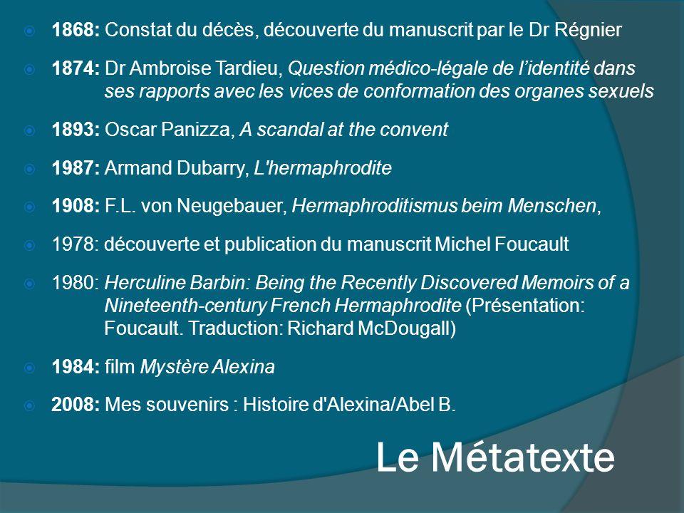 1868: Constat du décès, découverte du manuscrit par le Dr Régnier