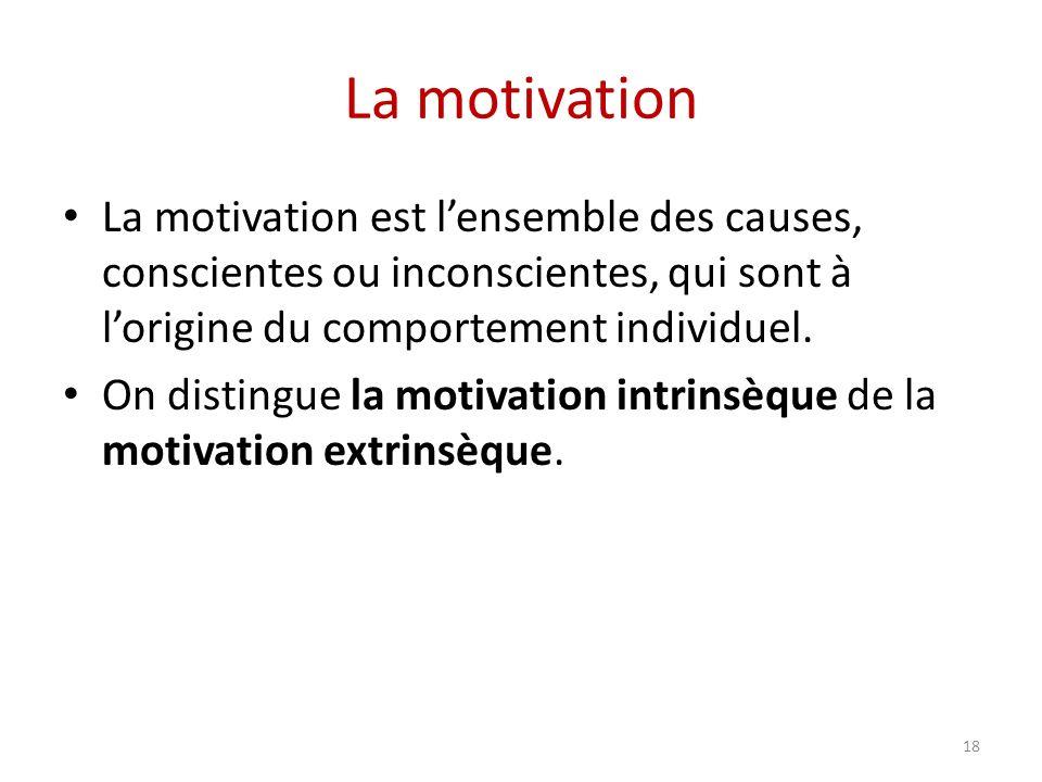 La motivation La motivation est l'ensemble des causes, conscientes ou inconscientes, qui sont à l'origine du comportement individuel.
