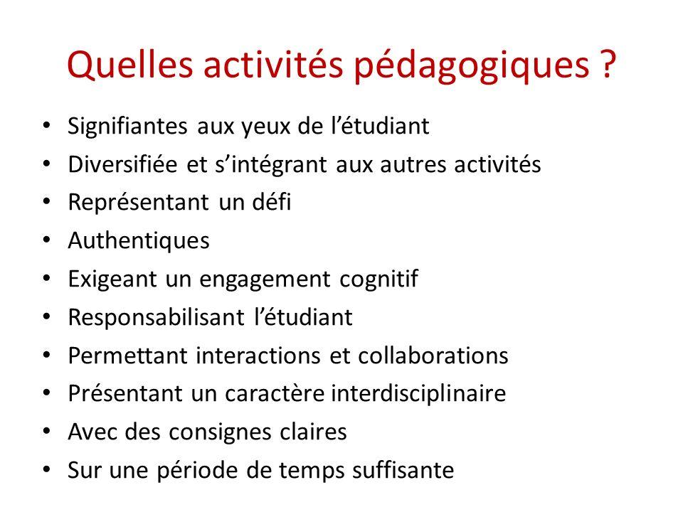 Quelles activités pédagogiques