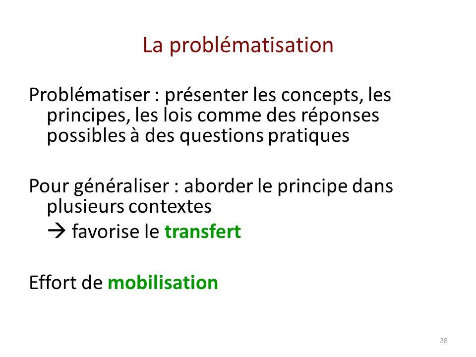 La problématisation Problématiser : présenter les concepts, les principes, les lois comme des réponses possibles à des questions pratiques.