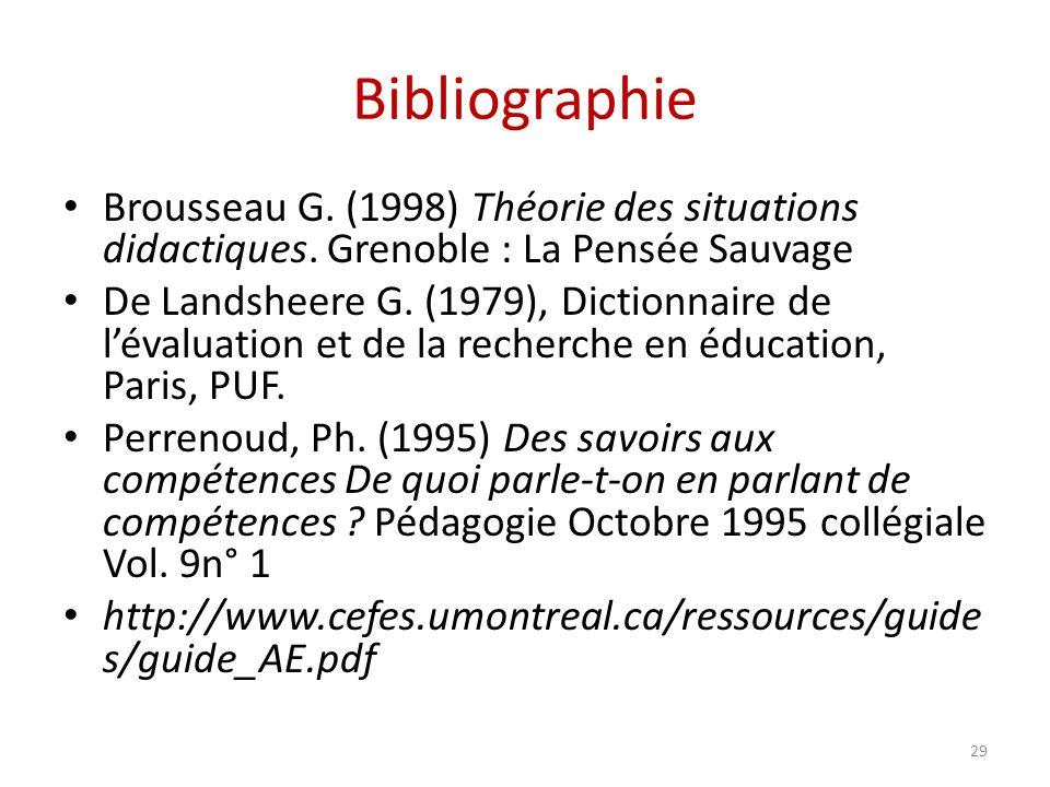 Bibliographie Brousseau G. (1998) Théorie des situations didactiques. Grenoble : La Pensée Sauvage.