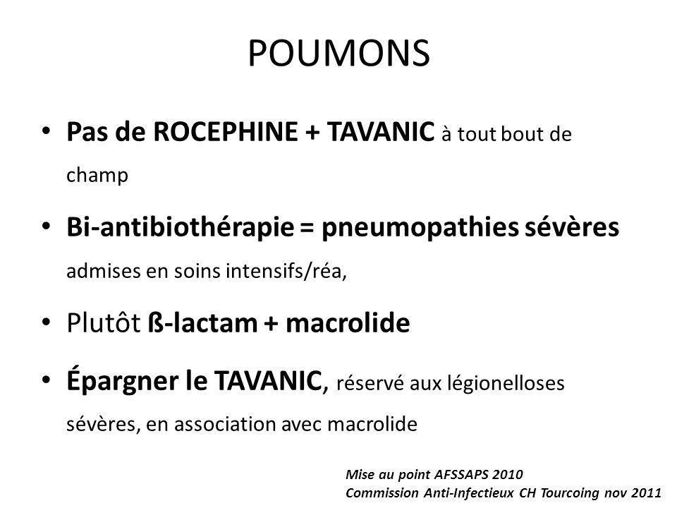 POUMONS Pas de ROCEPHINE + TAVANIC à tout bout de champ