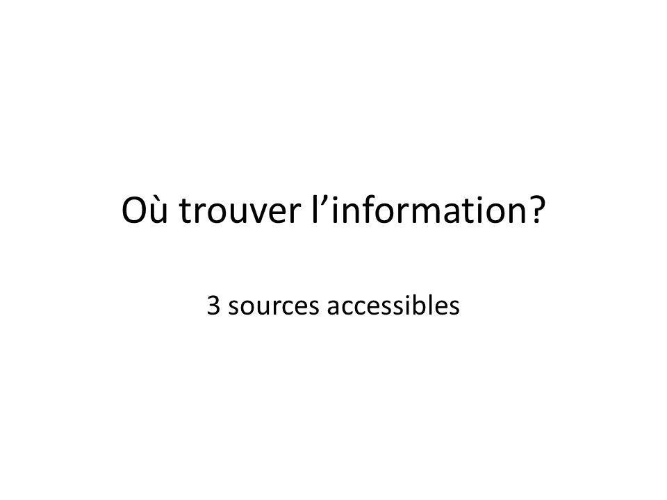 Où trouver l'information