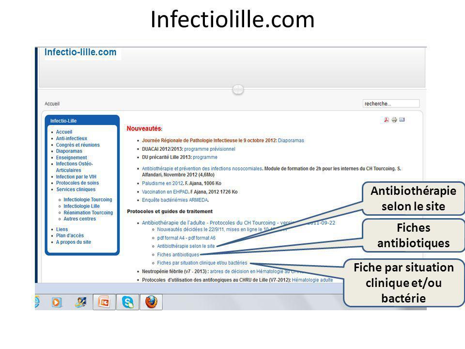 Infectiolille.com Antibiothérapie selon le site Fiches antibiotiques