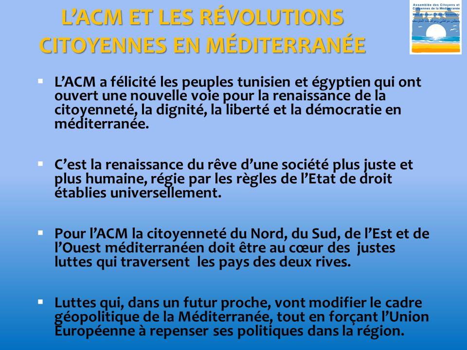 L'ACM ET LES RÉVOLUTIONS CITOYENNES EN MÉDITERRANÉE