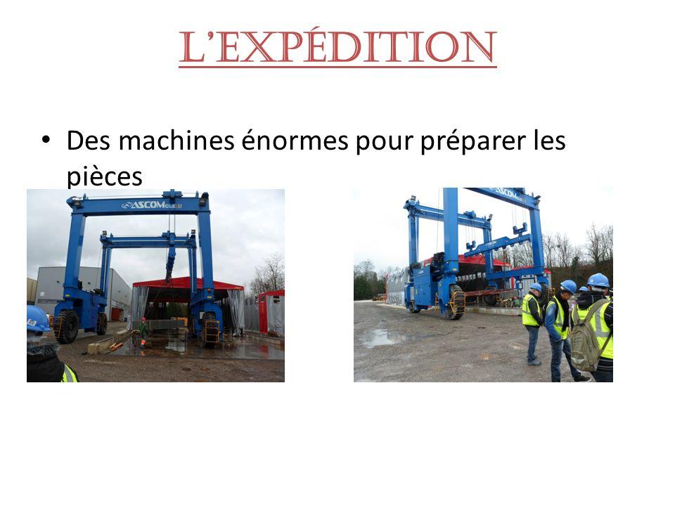 L'expédition Des machines énormes pour préparer les pièces