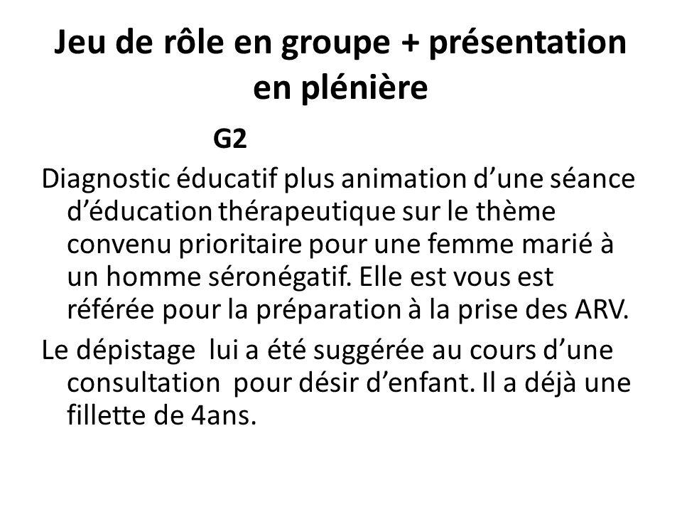Jeu de rôle en groupe + présentation en plénière