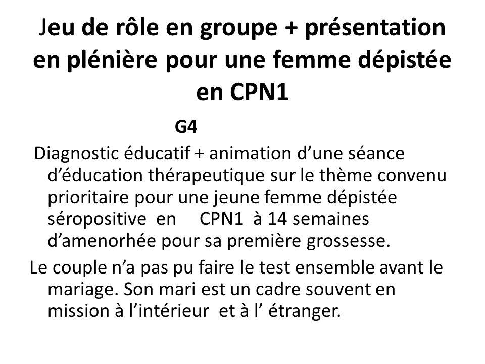 Jeu de rôle en groupe + présentation en plénière pour une femme dépistée en CPN1