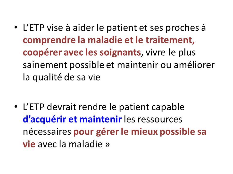L'ETP vise à aider le patient et ses proches à comprendre la maladie et le traitement, coopérer avec les soignants, vivre le plus sainement possible et maintenir ou améliorer la qualité de sa vie