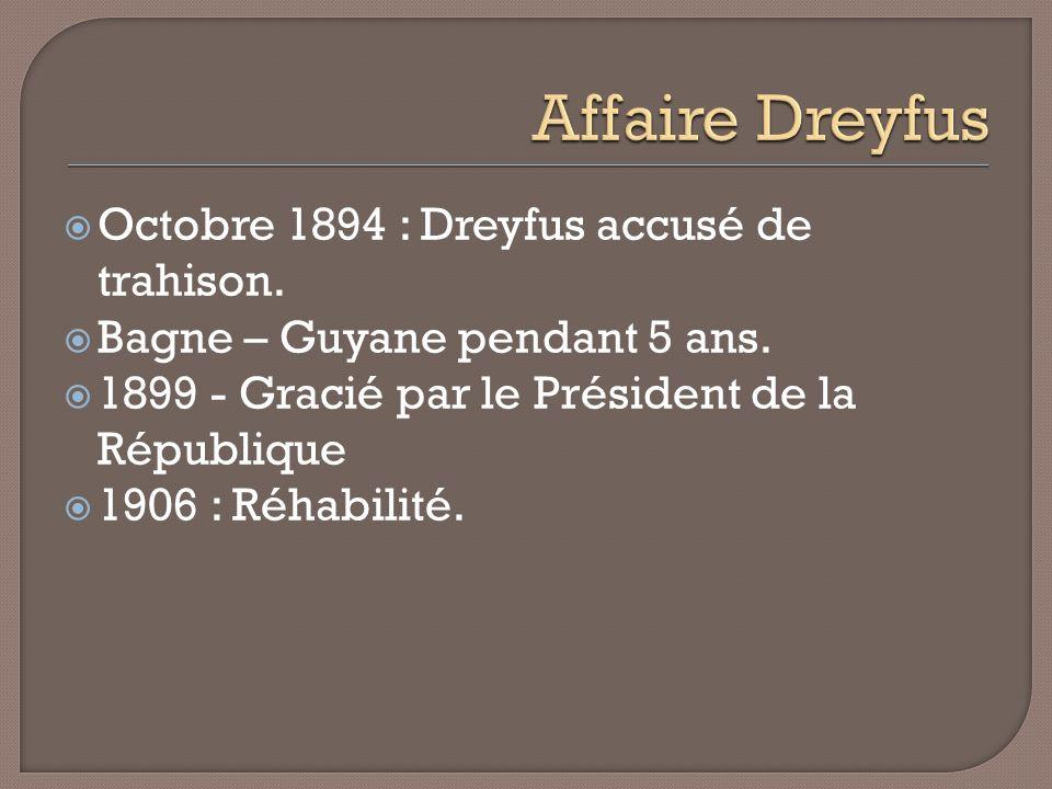 Affaire Dreyfus Octobre 1894 : Dreyfus accusé de trahison.