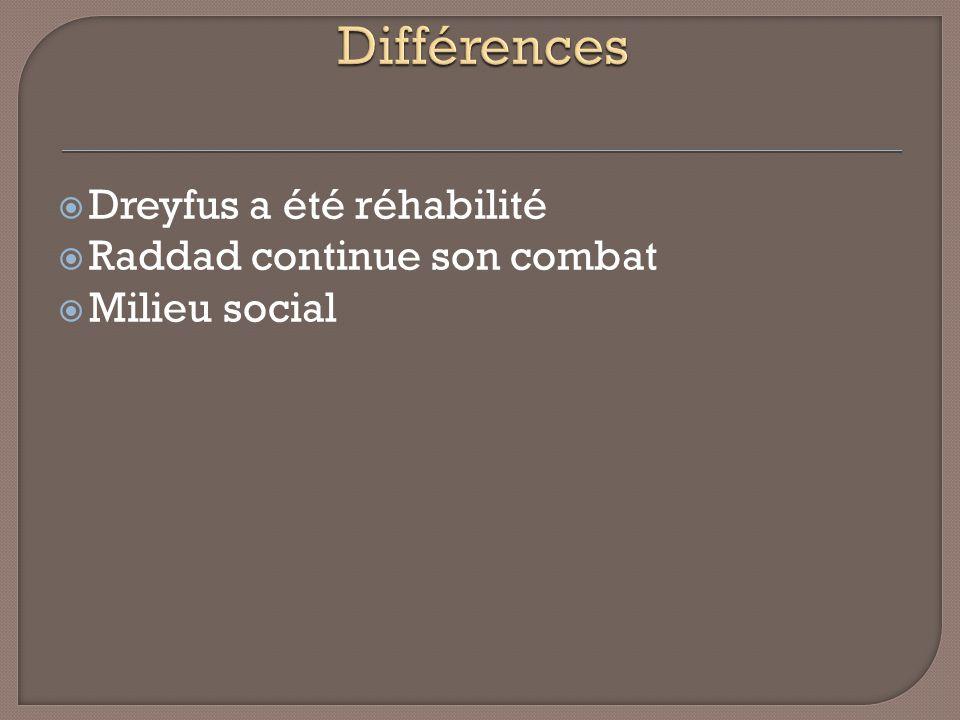 Différences Dreyfus a été réhabilité Raddad continue son combat