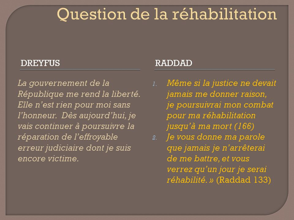 Question de la réhabilitation