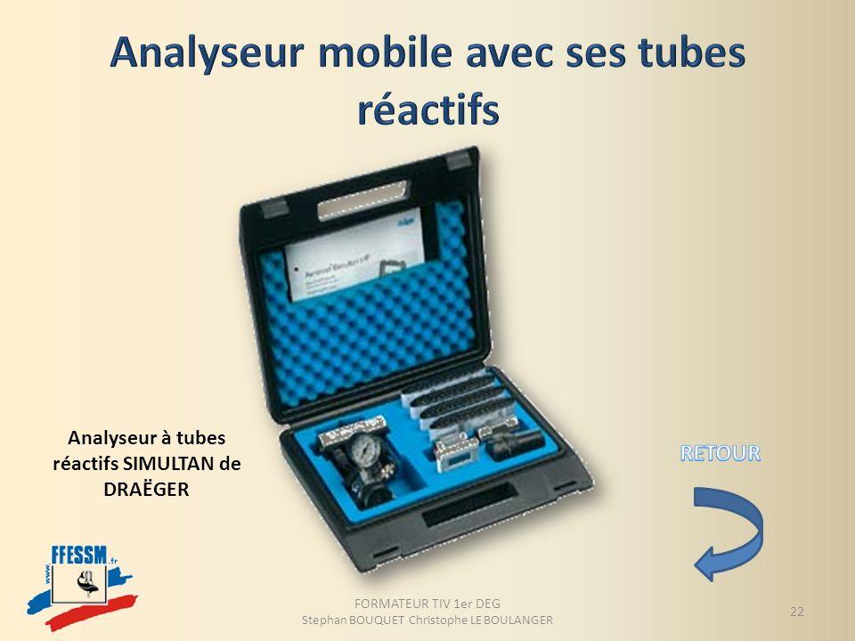 Analyseur mobile avec ses tubes réactifs