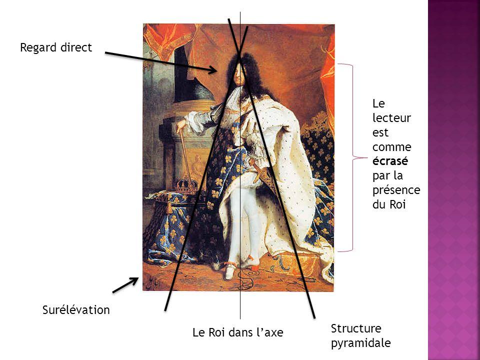 Regard direct Le lecteur est comme écrasé par la présence du Roi. Surélévation. Structure. pyramidale.