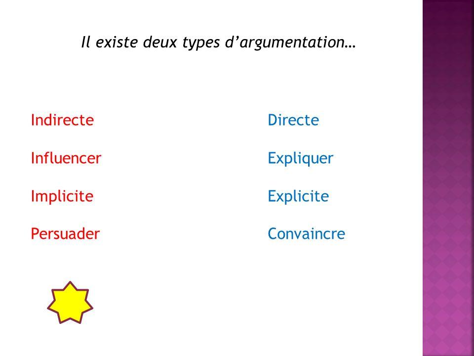 Il existe deux types d'argumentation…