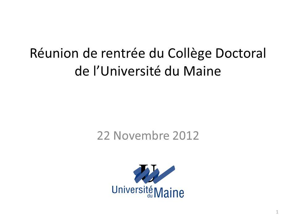 Réunion de rentrée du Collège Doctoral de l'Université du Maine