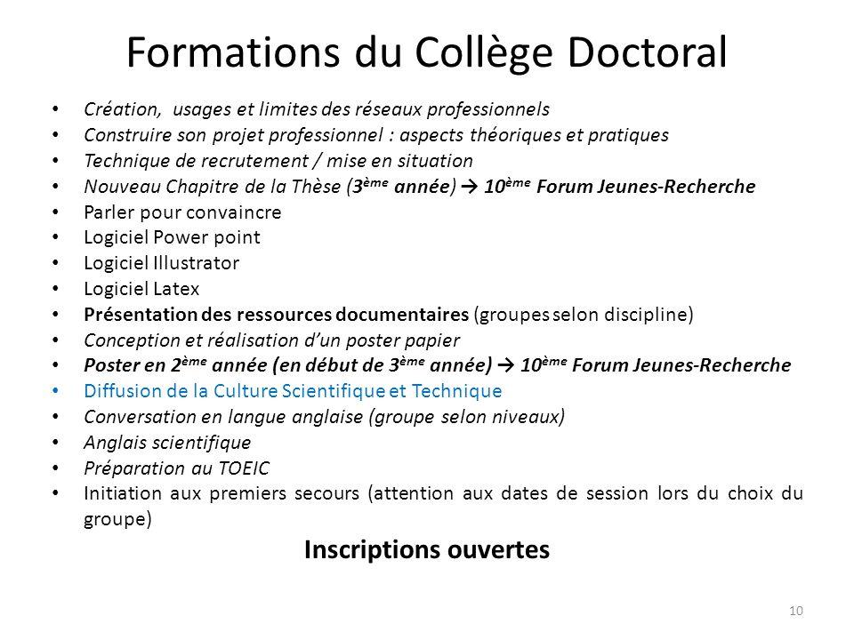 Formations du Collège Doctoral