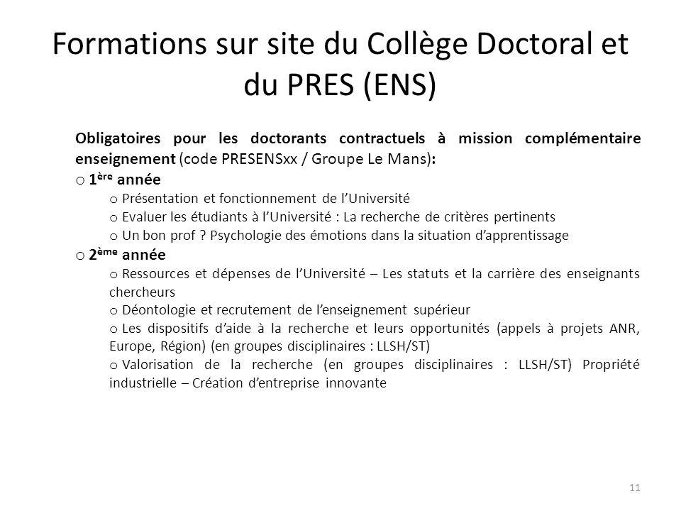Formations sur site du Collège Doctoral et du PRES (ENS)