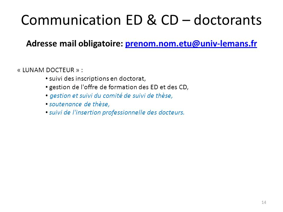 Communication ED & CD – doctorants