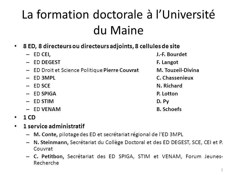 La formation doctorale à l'Université du Maine