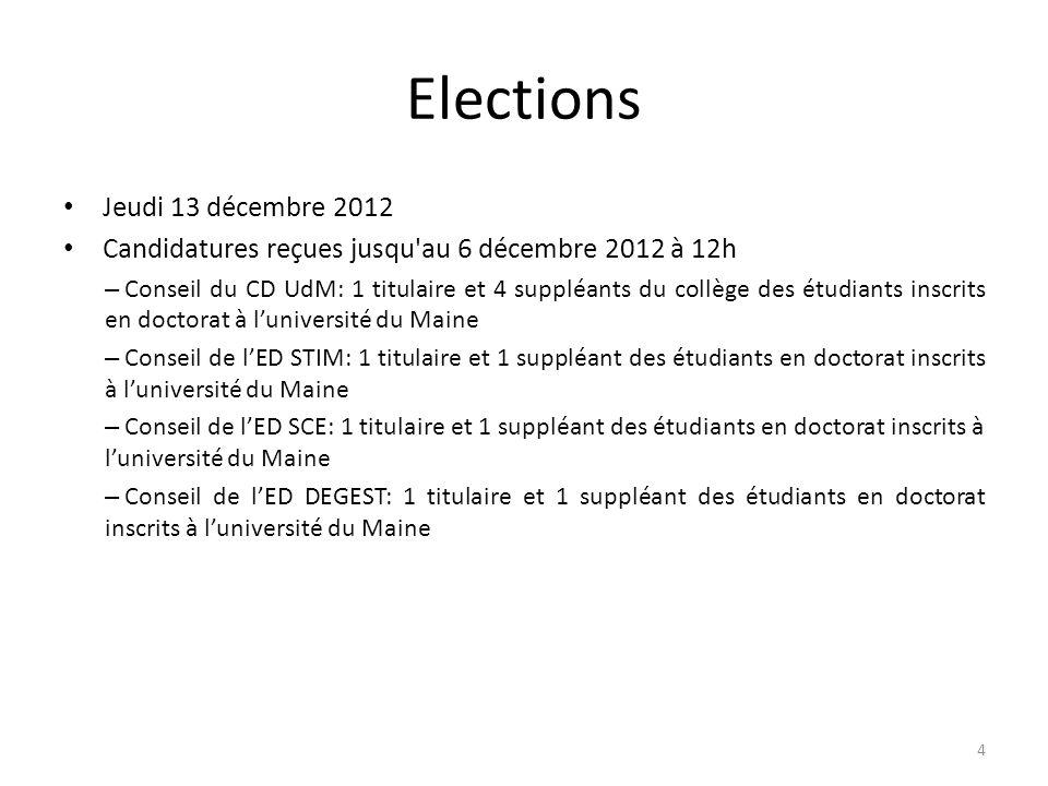 Elections Jeudi 13 décembre 2012