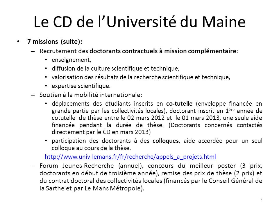 Le CD de l'Université du Maine