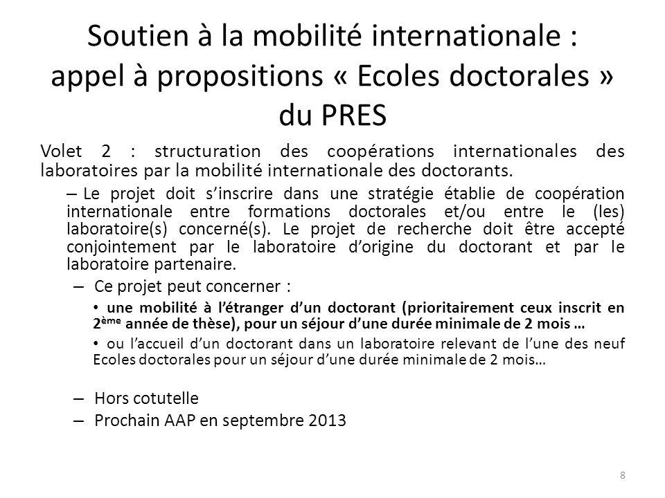 Soutien à la mobilité internationale : appel à propositions « Ecoles doctorales » du PRES