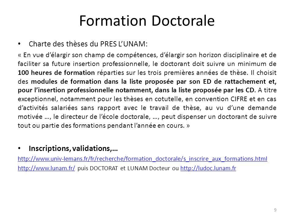 Formation Doctorale Charte des thèses du PRES L'UNAM: