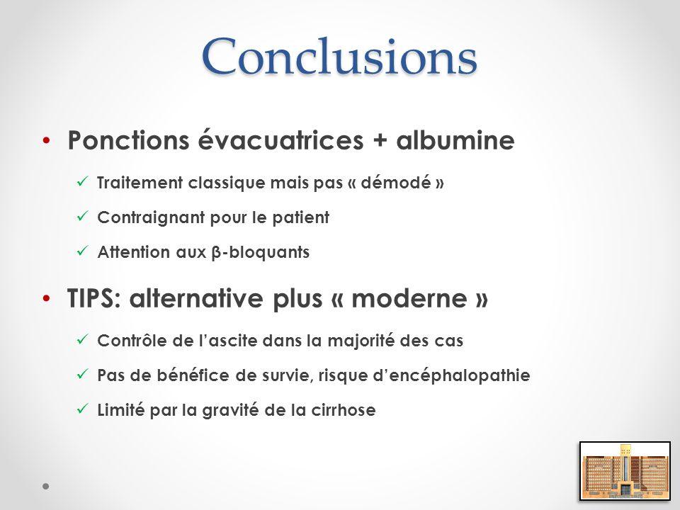 Conclusions Ponctions évacuatrices + albumine
