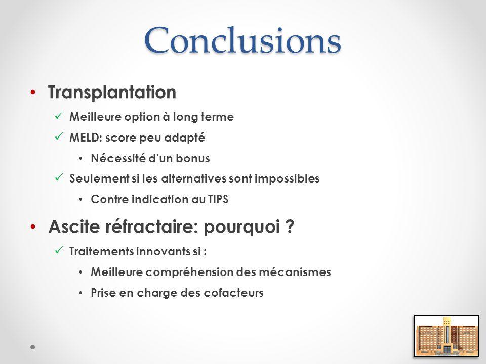 Conclusions Transplantation Ascite réfractaire: pourquoi