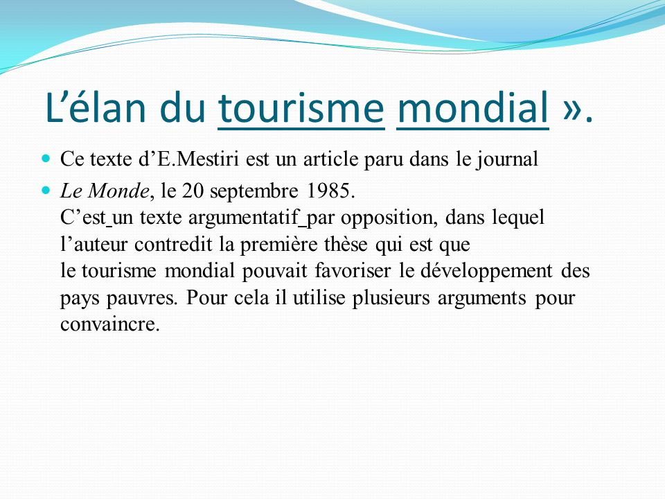 L'élan du tourisme mondial ».