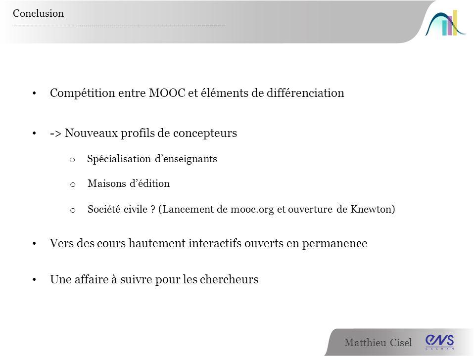 Compétition entre MOOC et éléments de différenciation