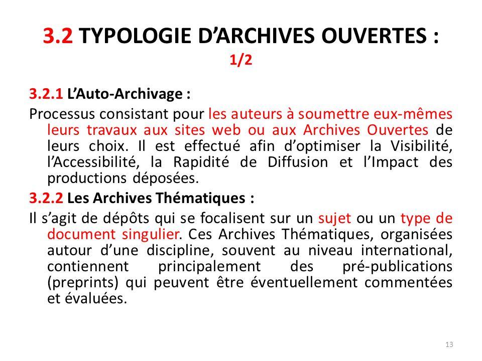3.2 TYPOLOGIE D'ARCHIVES OUVERTES : 1/2