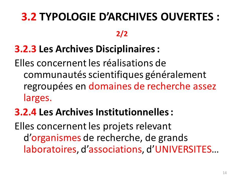3.2 TYPOLOGIE D'ARCHIVES OUVERTES : 2/2