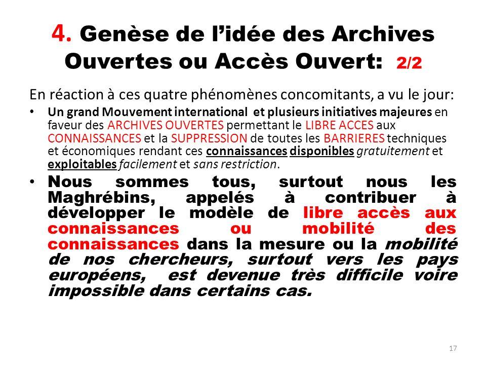 4. Genèse de l'idée des Archives Ouvertes ou Accès Ouvert: 2/2