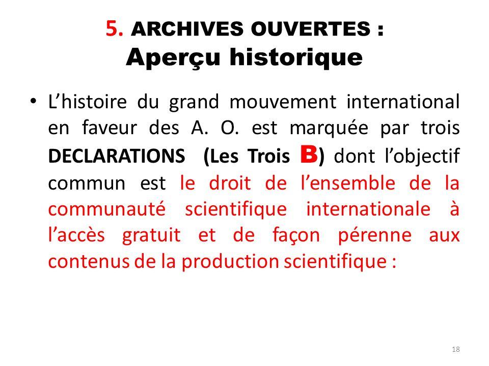 5. ARCHIVES OUVERTES : Aperçu historique