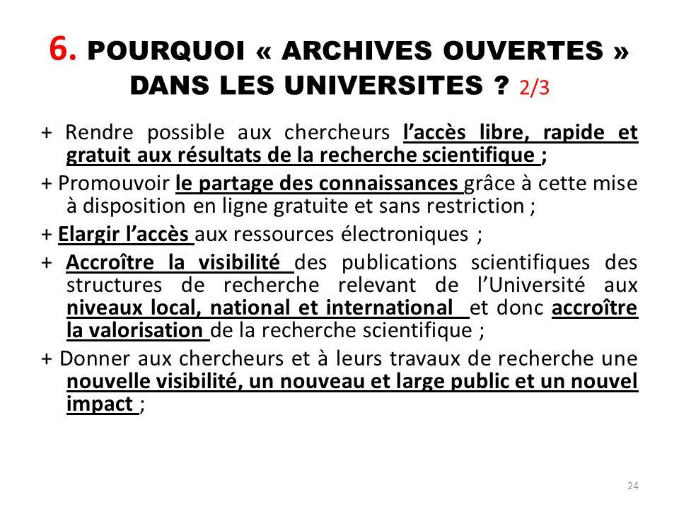 6. POURQUOI « ARCHIVES OUVERTES » DANS LES UNIVERSITES 2/3