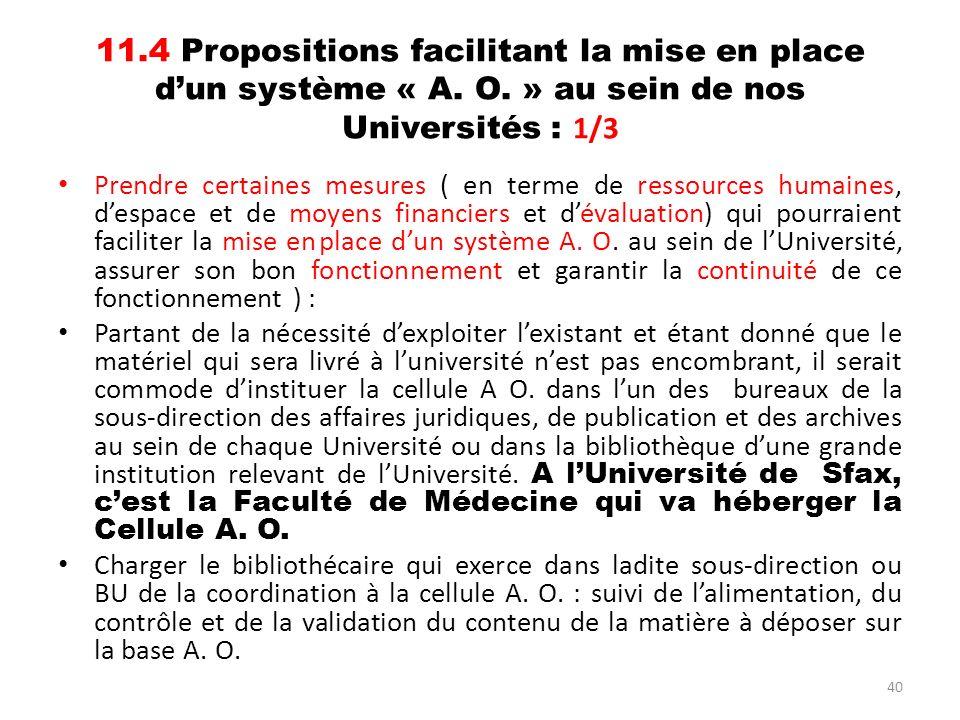 11. 4 Propositions facilitant la mise en place d'un système « A. O