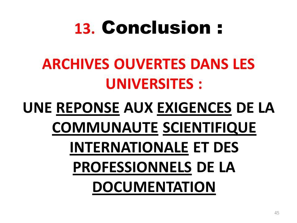 13. Conclusion :