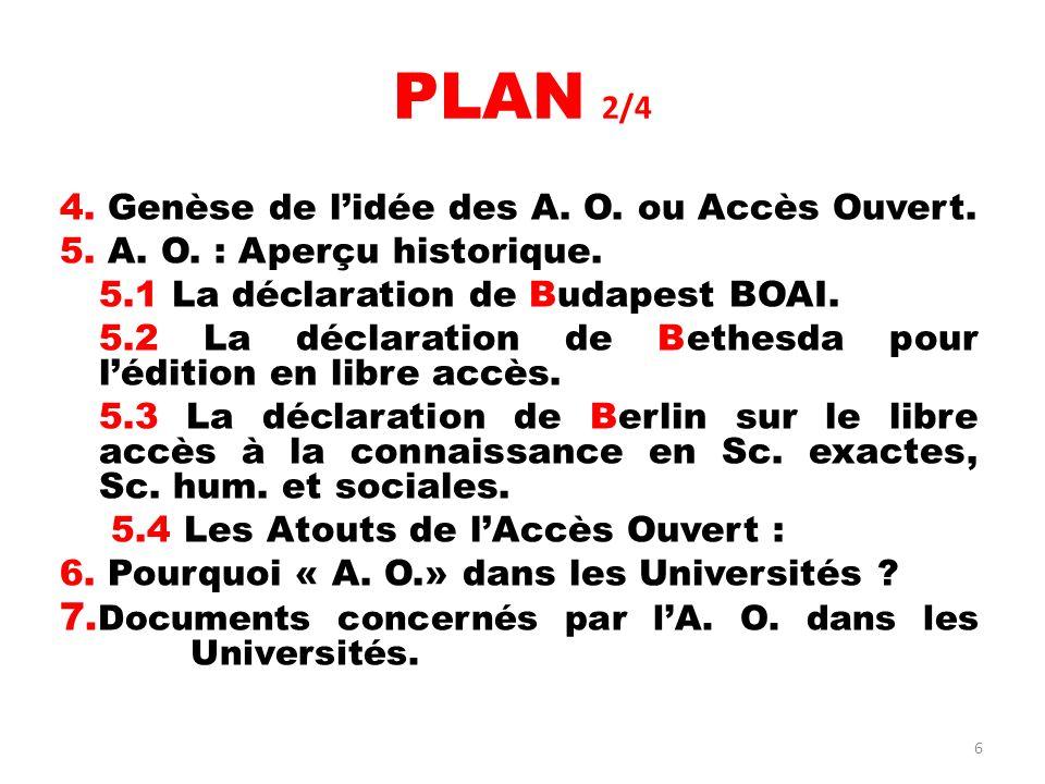 PLAN 2/4 7.Documents concernés par l'A. O. dans les Universités.