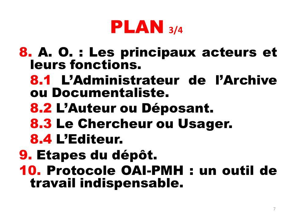 PLAN 3/4 8. A. O. : Les principaux acteurs et leurs fonctions.