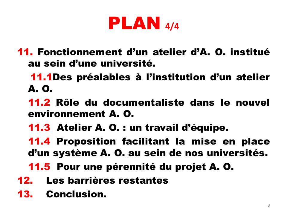 PLAN 4/4 11. Fonctionnement d'un atelier d'A. O. institué au sein d'une université. 11.1Des préalables à l'institution d'un atelier A. O.