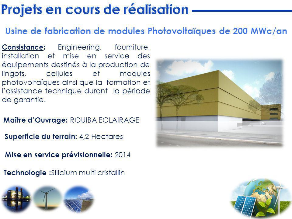 Usine de fabrication de modules Photovoltaïques de 200 MWc/an