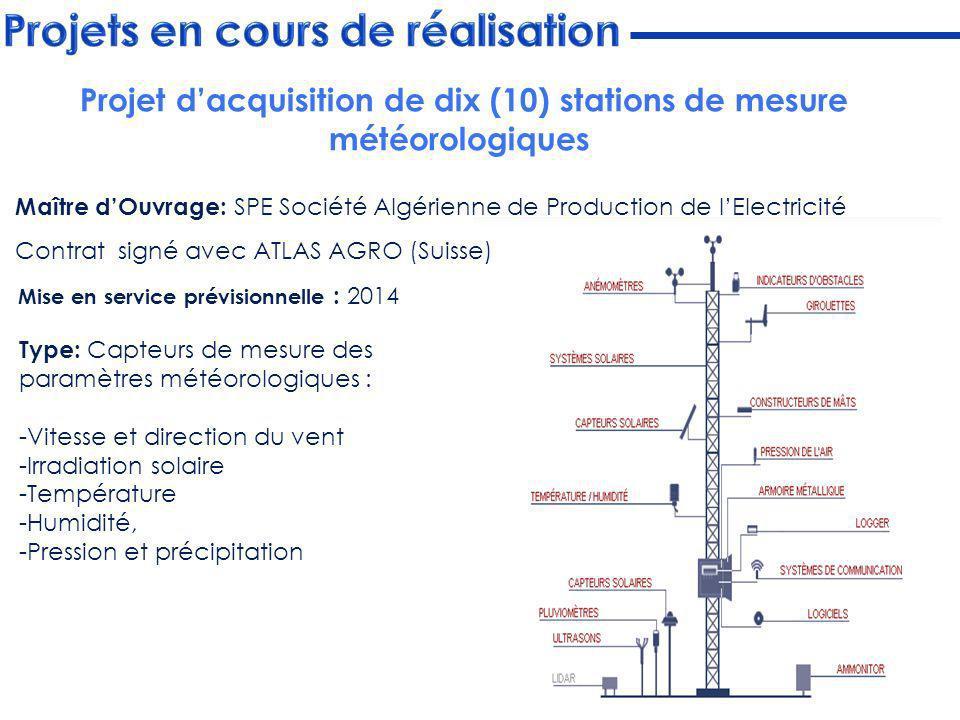 Projet d'acquisition de dix (10) stations de mesure météorologiques